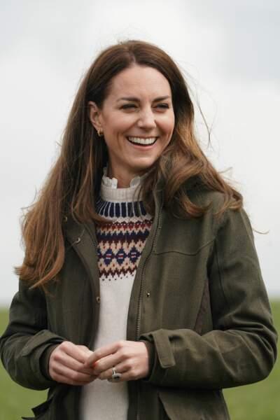 Kate Middleton en visite dans une ferme à Durham, le 27 avril 2021