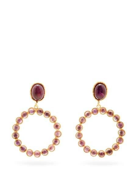 Boucles d'oreilles en œil-de-tigre Happy, 180€, Sylvia Toledano sur Matches Fashion