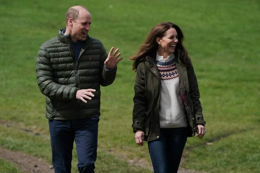 Les Cambridge en visite dans une ferme à Durham, le 27 avril 2021