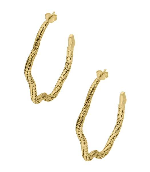 Créoles Tao Serpent dorées 210€, Aurélie Bidermann sur Jane De Boy