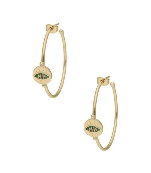 Boucles d'oreilles anneaux oeil vert 115€, Virginie Berman sur Jane De Boy
