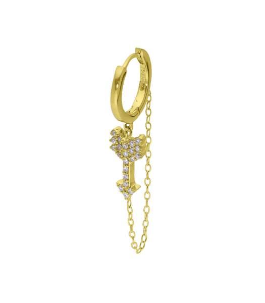 Créole chaîne flèche, or jaune et diamants 825€, And... Paris sur Jane De Boy