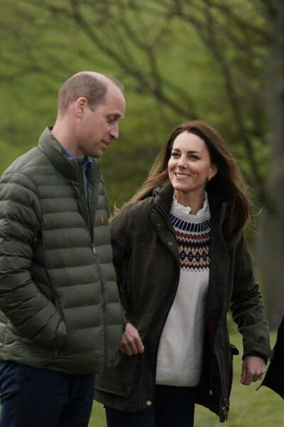 Kate Middleton et William en visite dans une ferme à Durham, le 27 avril 2021