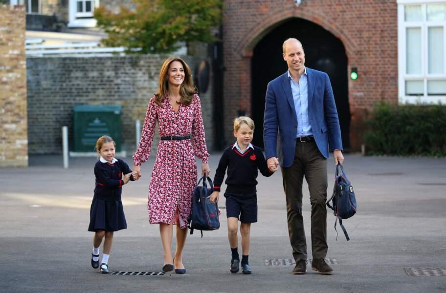 Kate, William, George et Charlotte à l'école Thomas's Battersea à Londres, Royaume Uni, le 5 septembre 2019.