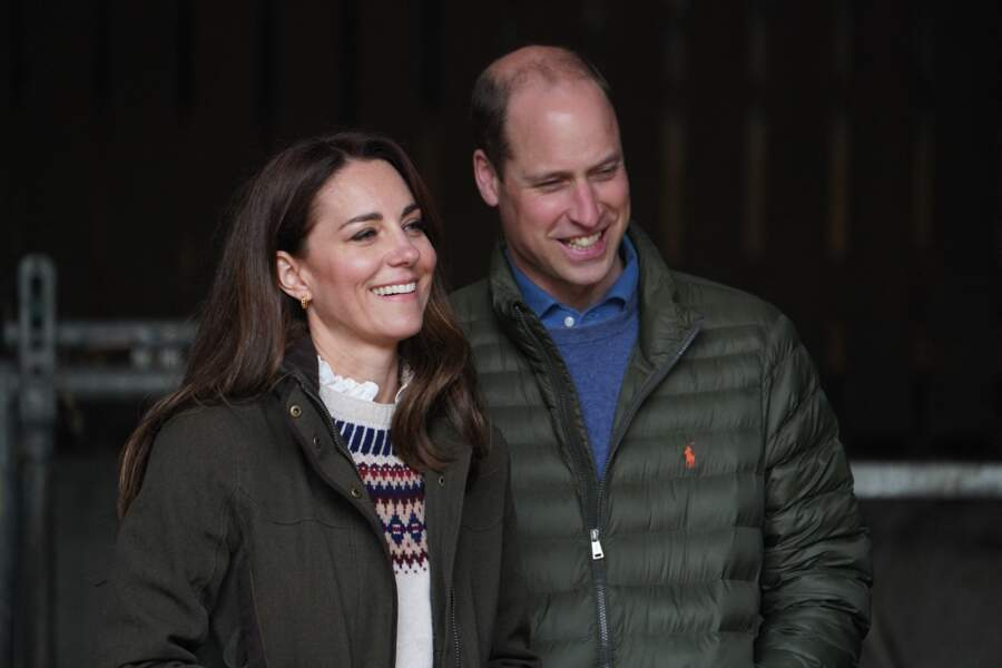 Le prince William, duc de Cambridge, et Kate Middleton, duchesse de Cambridge, visitent la ferme du manoir à Little Stainton, Royaume Uni, le 27 avril 2021.