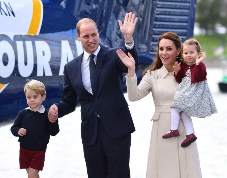 Kate, William, George et Charlotte au Canada à Victoria, le 1er octobre 2016.