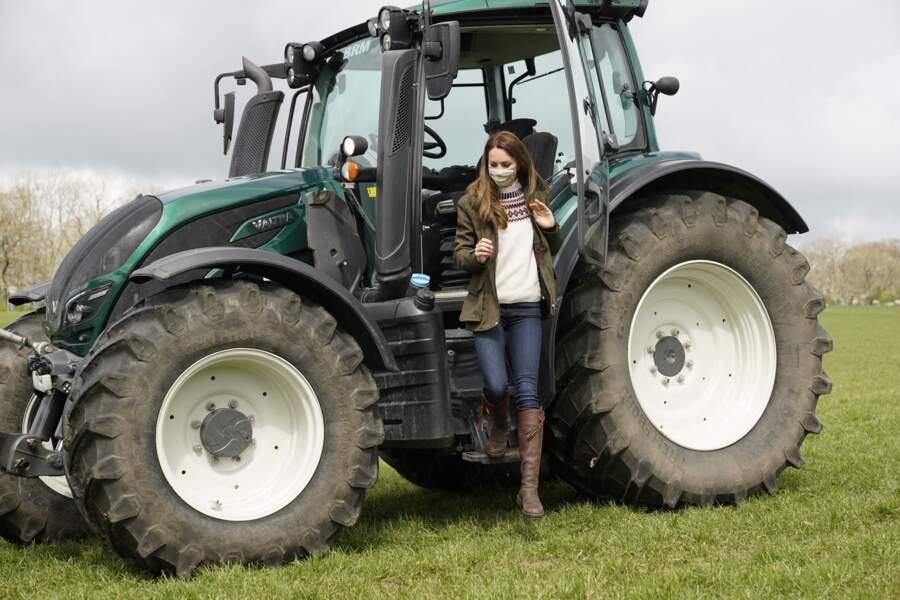 La duchesse de Cambridge, dans une ferme à Durham, le 27 avril 2021