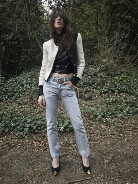 Charlotte Gainsbourg pose pour la campagne automne/hiver 2021/2022 de Saint Laurent Paris.