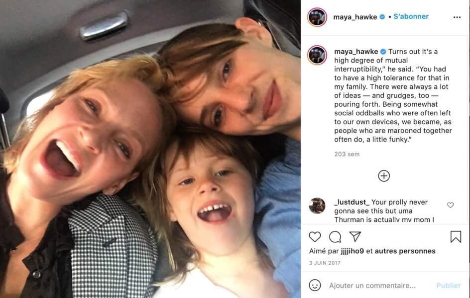 Uma Thurman et ses deux filles Maya Hawke et Luna Busson