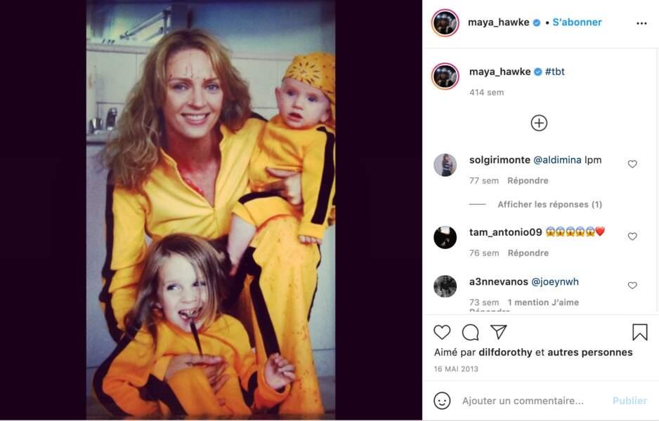 Uma Thurman et ses enfants Maya et Levon Hawke, lorsqu'ils étaient enfants.