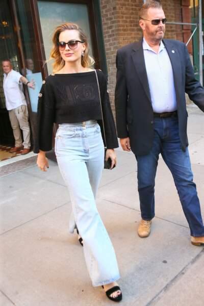 L'actrice en maille de la maison au double C à New York, le 5 octobre 2019.