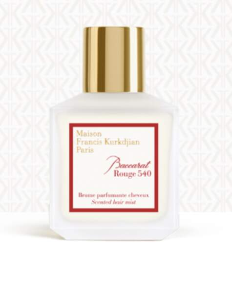 Brume Parfumante Cheveux Baccarat Rouge , Maison Francis Kurkdjian, 70 €, franciskurkdjian.com