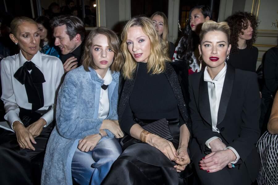 Uma Thurman et sa fille Maya Hawke au défilé Armani pendant la Fashion Week parisienne, en janvier 2019