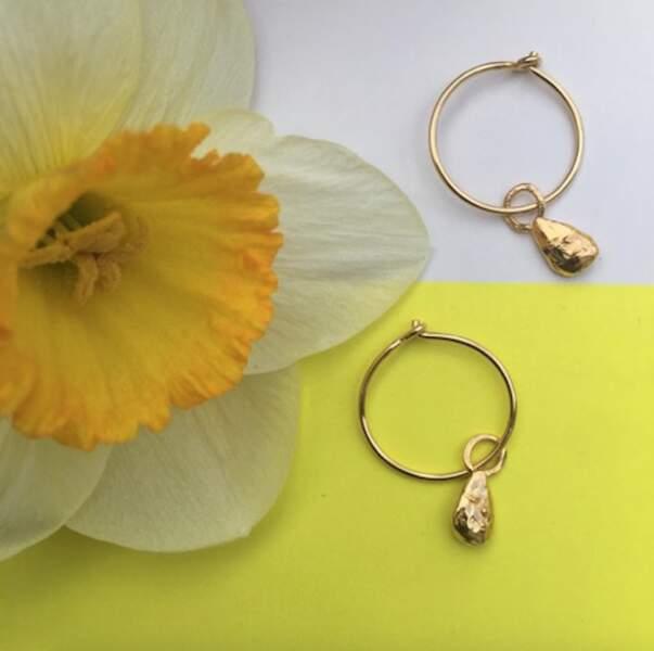 Créoles dorées pépins, 100€, Par Coeur