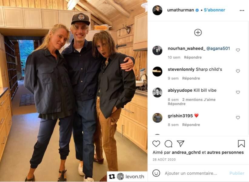 Uma Thurman et deux de ses enfants Maya Hawke et Levon Hawke, en août 2020