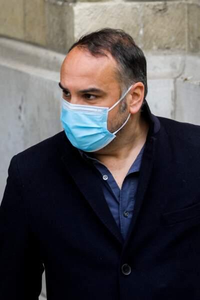 François-Xavier Demaison à la sortie des obsèques d'Yves Rénier, le 30 avril 2021