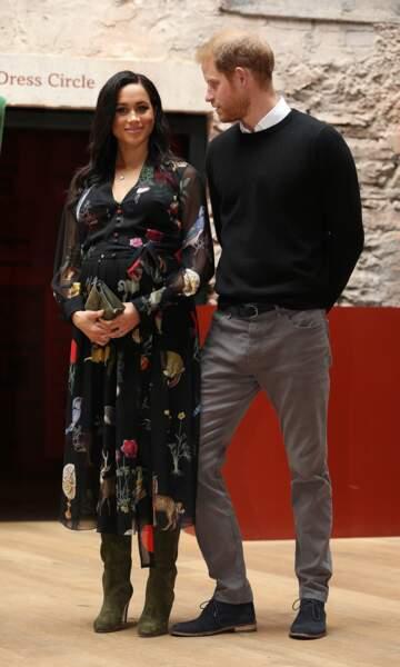 Meghan Markle en robe du même style, signée Oscar de la Renta, à Bristol le 1er février, 2019.
