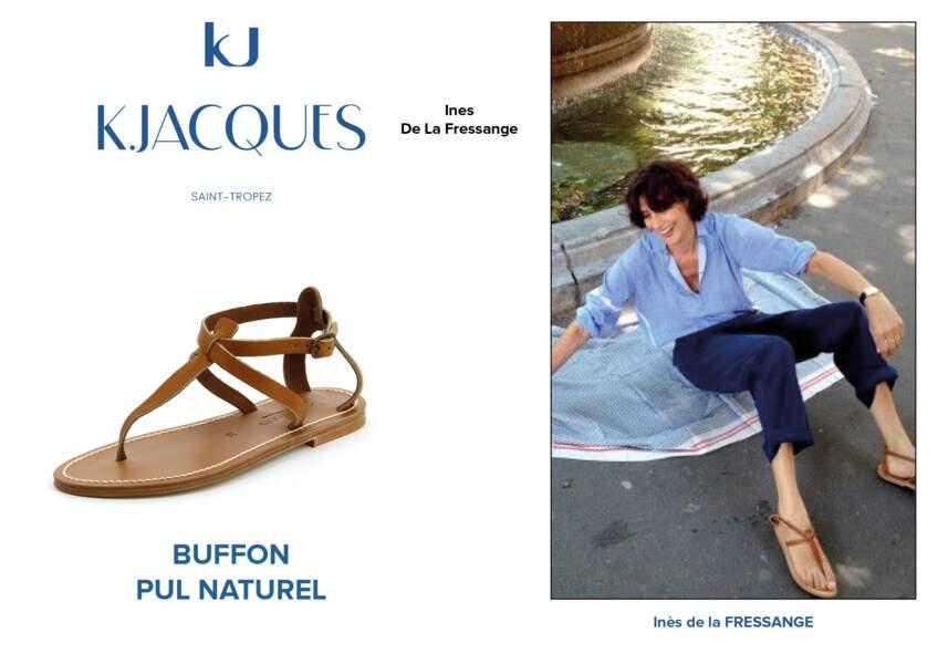 Inès de la Fressange porte le modèle Buffon de K.Jacques.