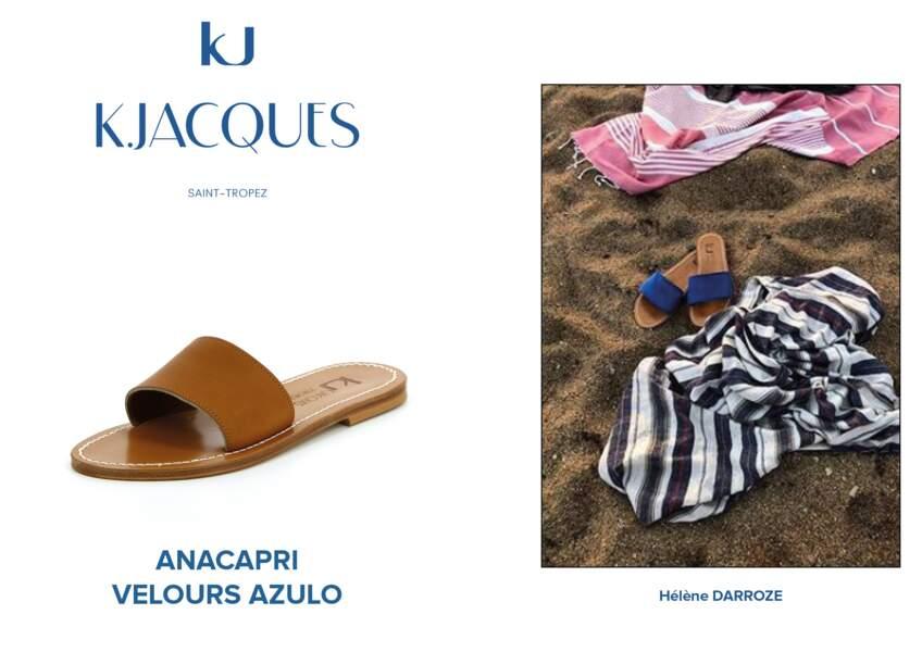 Hélène Darroze met dans sa valise d'été le modèle Anacapri de K.Jacques.