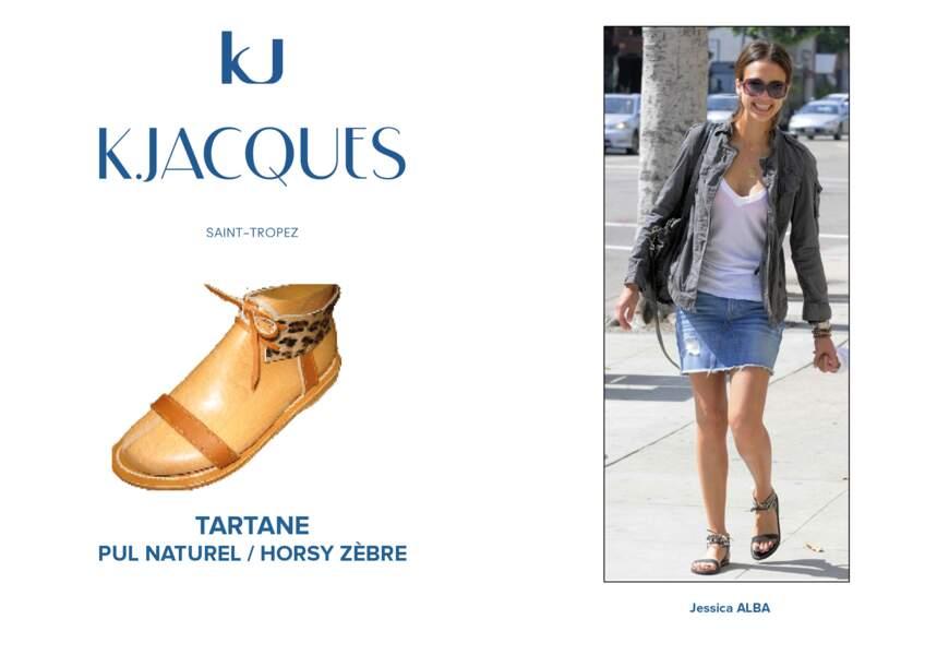 Jessica Alba porte le modèle Tartane de K.Jacques.