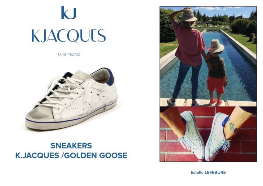 Estelle Lefebure porte le modèle de baskets de K.Jacques en collaboration avec Golden Goose.