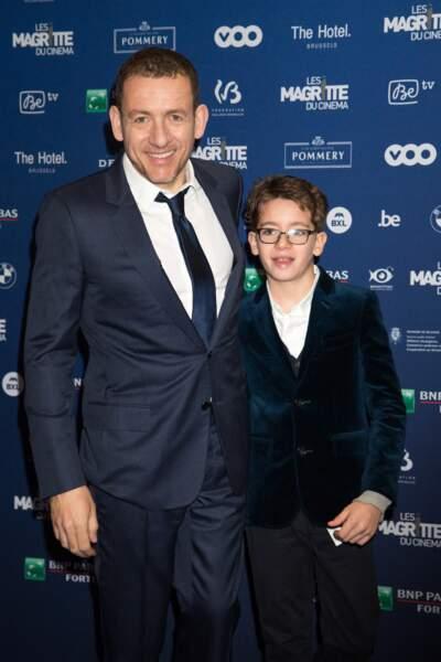 Dany Boon et son fils Eytan à la 6ème édition de la cérémonie des Magritte du cinéma à Bruxelles, le 6 février 2016.