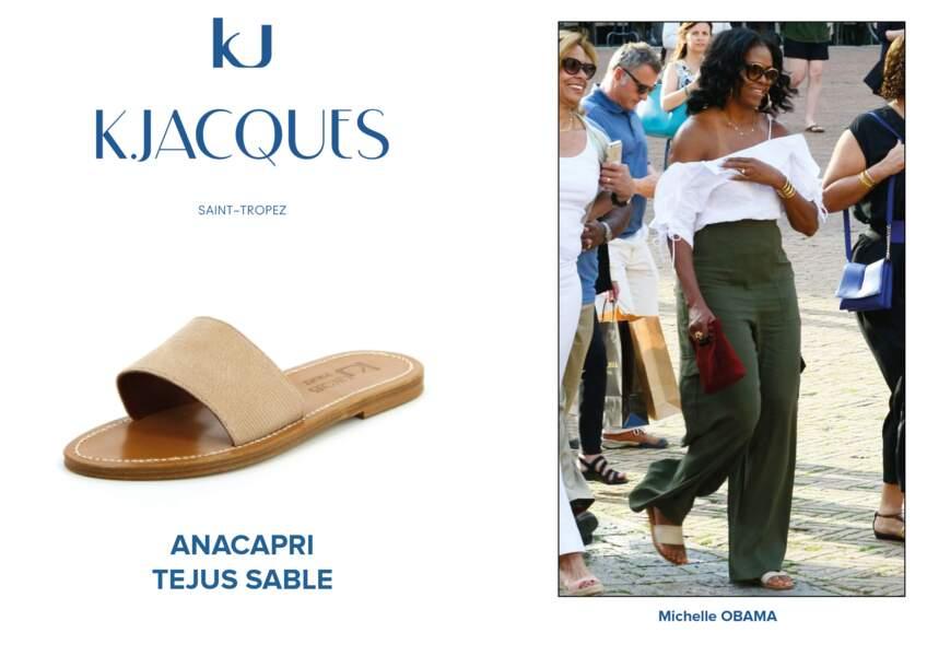 Michelle Obama porte le modèle Anacapri de K.Jacques.
