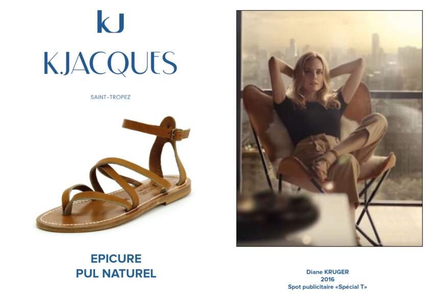 """Diane Kruger porte le modèle Epicure de K.Jacques pour le spot de publicité """"Spécial T""""."""