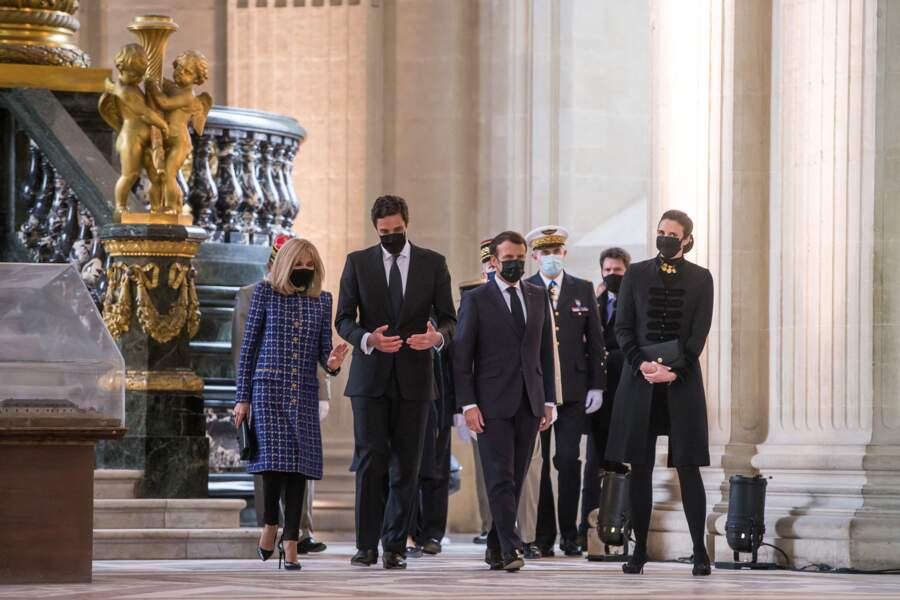 Le prince Jean-Christophe Napoléon, la princesse Olympia von Arco-Zinneberg, Brigitte et Emmanuel Macron à Paris, ce 5 mai 2021