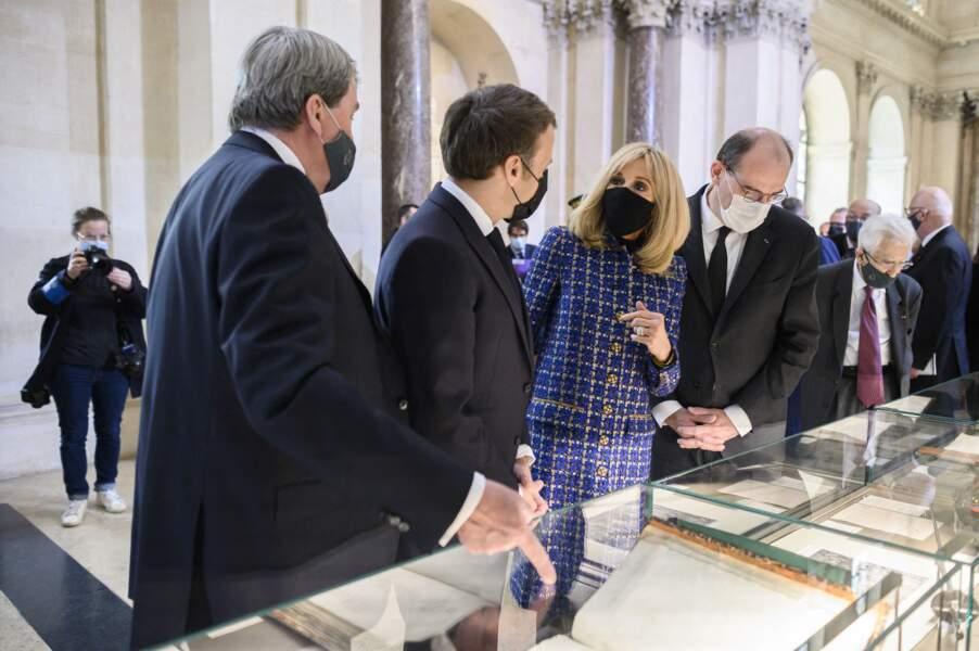 Brigitte et Emmanuel Macron le 5 mai 2021 à l'Institut de France à Paris