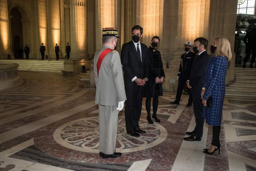 Le prince Jean-Christophe Napoléon, la princesse Olympia von Arco-Zinneberg, Emmanuel et Brigitte Macron à Paris, ce 5 mai 2021