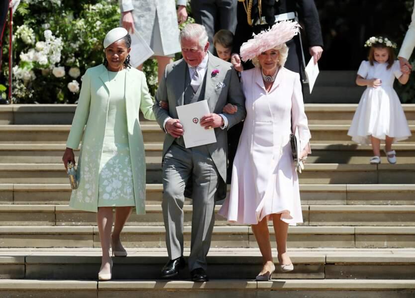 19 mai 2018 : Doria Ragland, le prince Charles et Camilla sortent ensemble de la chapelle St. George