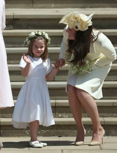 19 mai 2018 : la princesse Charlotte et Kate Middleton, au mariage du prince Harry et de Meghan Markle