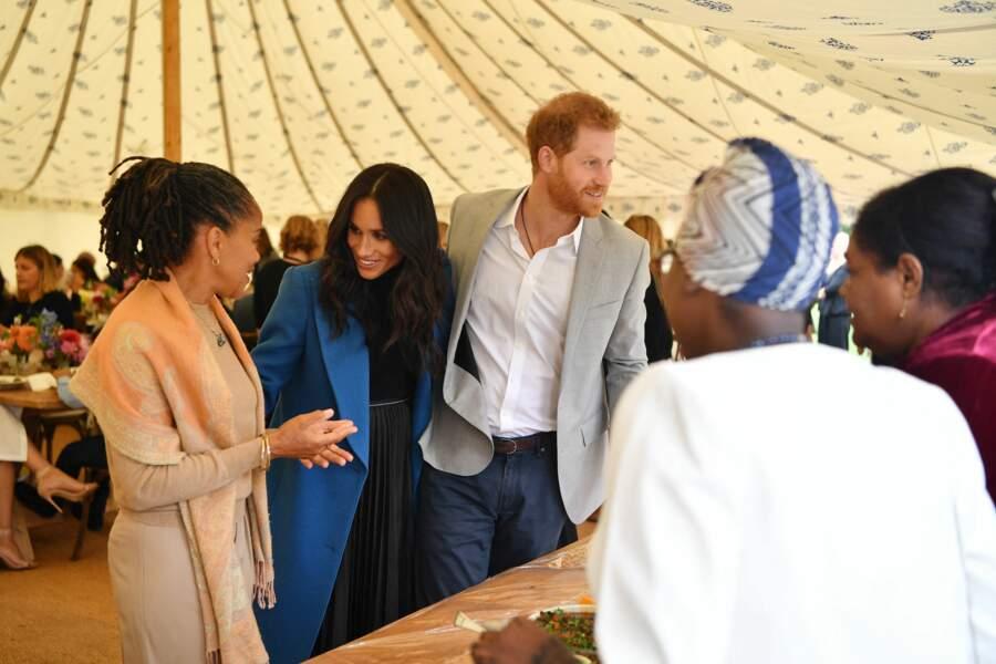 20 septembre 2018 : Meghan Markle, accompagnée par sa mère Doria et le prince Harry reçoivent les femmes de la Hubb Community Kitchen