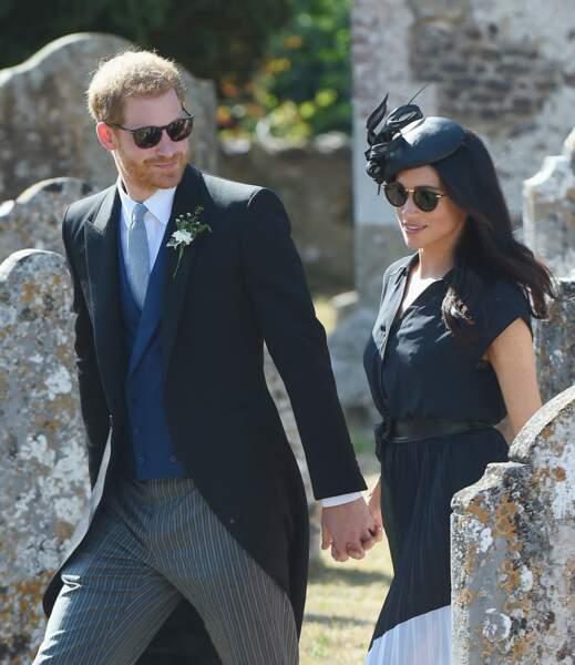 4 août 2018 : Harry et Meghan sont les invités remarqués du mariage de Charlie Van Straubanzee