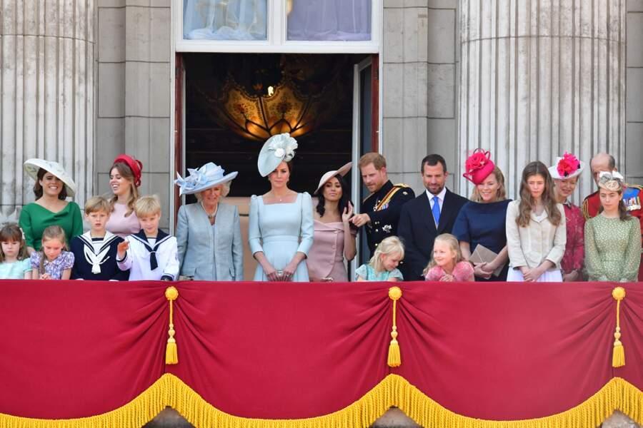 9 juin 2018 : première apparition de Meghan Markle aux côtés d'Harry au balcon de Buckingham