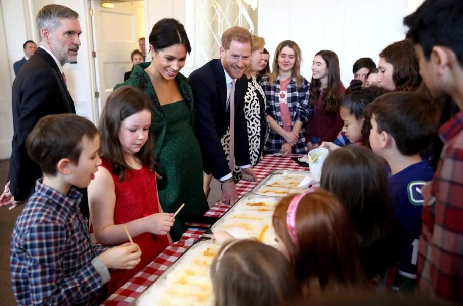 11 mars 2019 : Meghan et Harry participent à une rencontre avec des enfants à la Maison du Canada de Londres