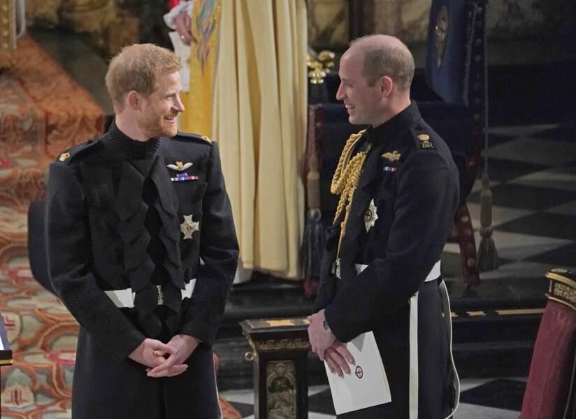 19 mai 2018 : le prince Harry et le prince William lors de la cérémonie de mariage