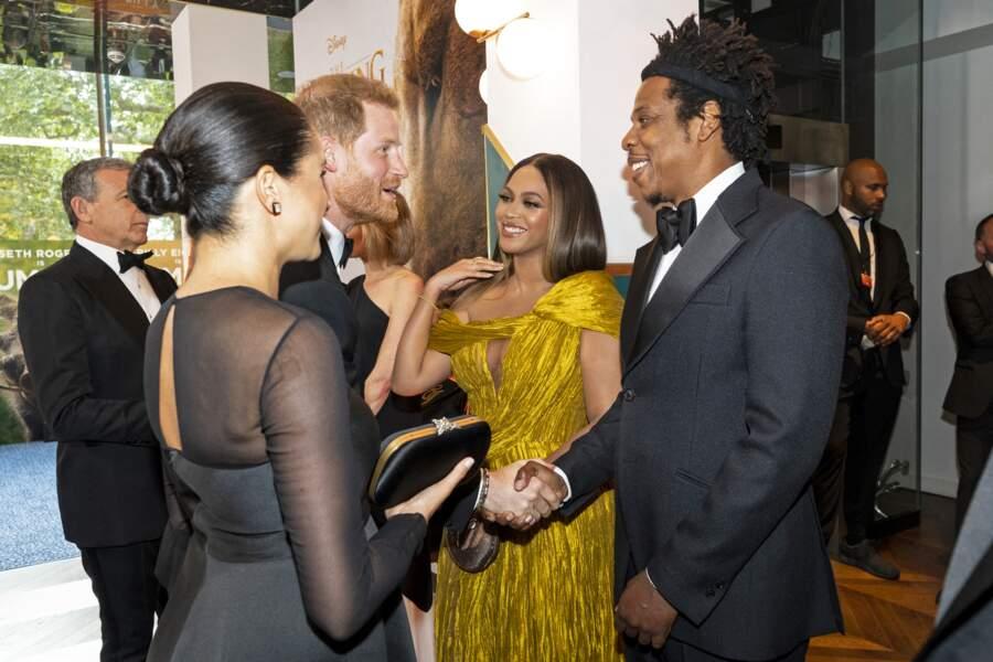 """14 juillet 2019 : Harry et Meghan rencontre Beyoncé et Jay-Z à la première du """"Roi Lion"""""""