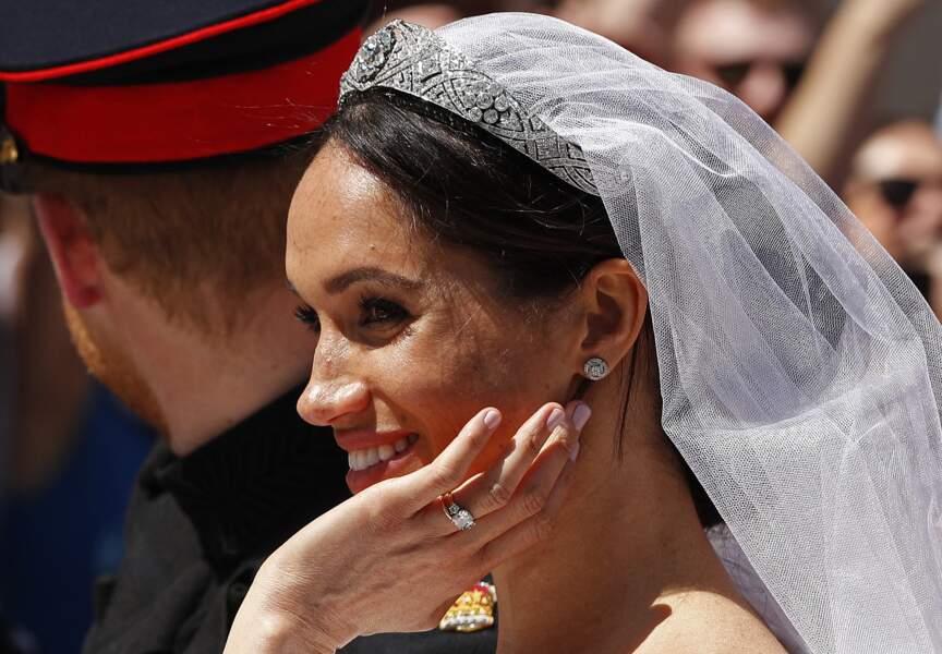 19 mai 2018 : Meghan, la duchesse de Sussex, dans le carrosse royal après la cérémonie de son mariage avec le prince Harry
