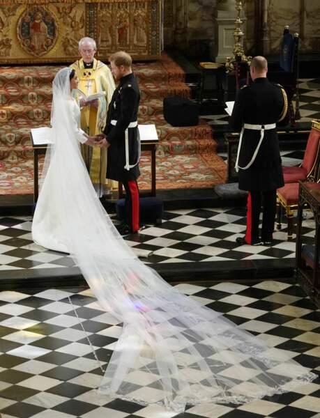 19 mai 2018 : Meghan Markle et le prince Harry lors de leur cérémonie de mariage en la chapelle Saint-George