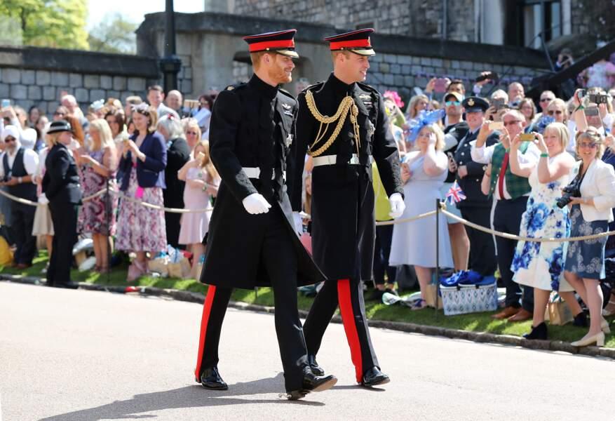 19 mai 2018 : arrivée du prince Harry et du prince William à la chapelle St. George