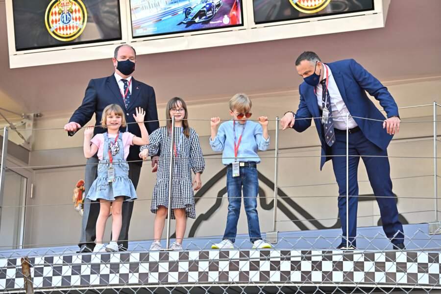 Le prince Albert II de Monaco, la princesse Gabriella, le prince Jacques, Kaia Rose Wittstockce samedi 8 mai