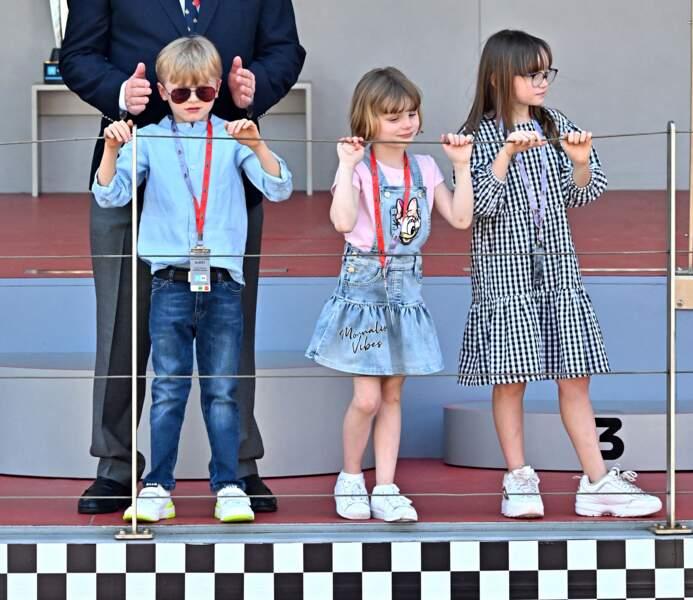 Les enfants du prince Albert II de Monaco assistent au E-Prix De Monaco 2021