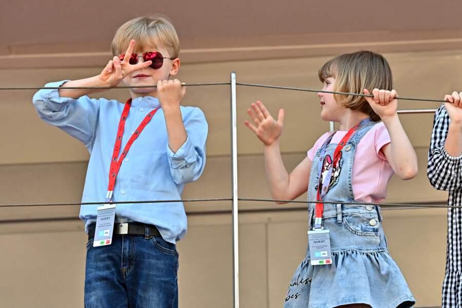 Les enfants du prince Albert II de Monaco assistent au E-Prix De Monaco