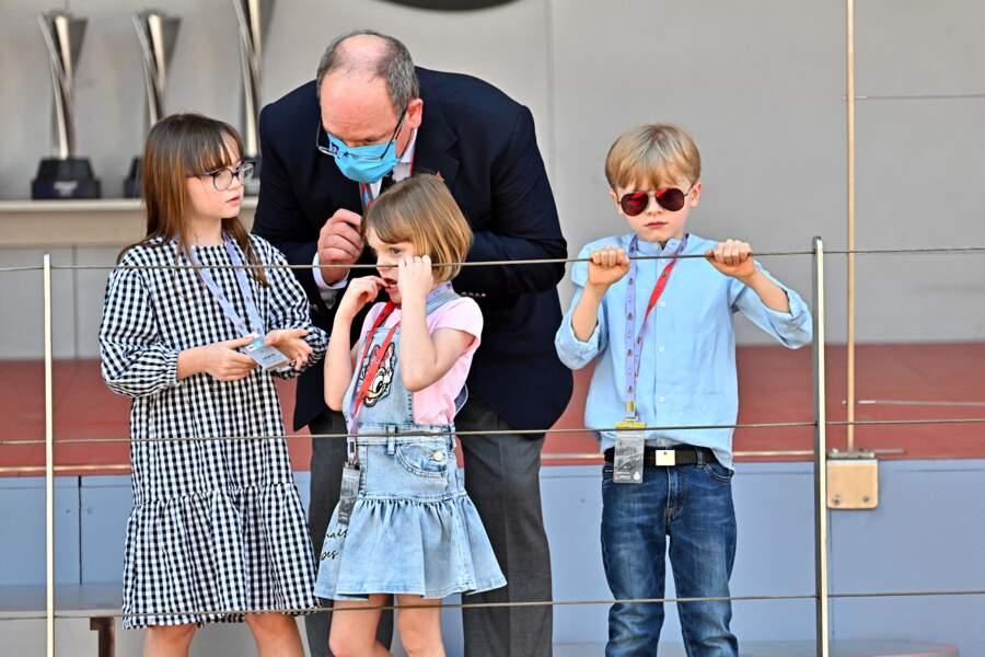 Le prince Albert II de Monaco, la princesse Gabriella, le prince Jacques et Kaia Rose Wittstock