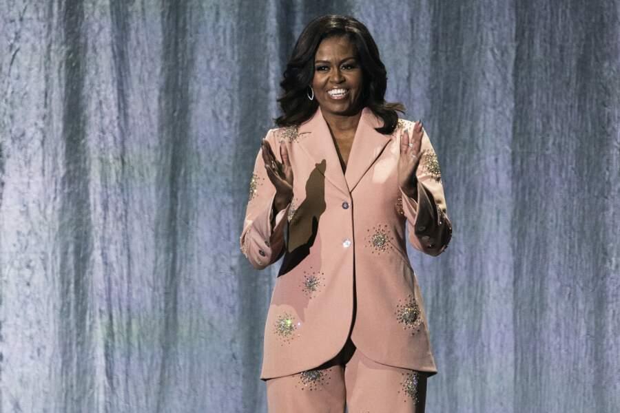 Michelle Obama lors d'une soirée confidences pour la sortie de son livre à l'O2 Arena à Londres, en avril 2019
