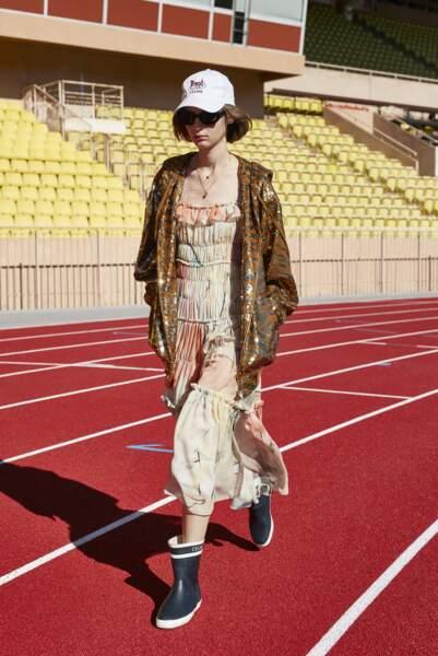 Robe Bain de soleil plissée en georgette de soie, 2790€, Celine par Hedi Slimane