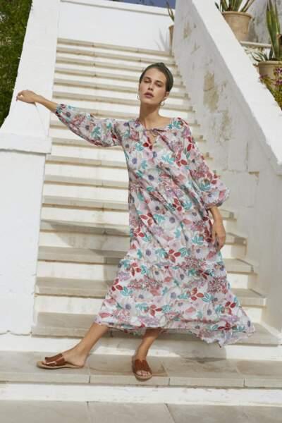 Robe longue motifs à fleurs haut en couleur all-over , 89,99€, Esprit