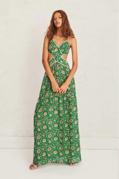 Robe Paloma découpes sur les côtés et dos-nu graphique, 280€, ba&sh